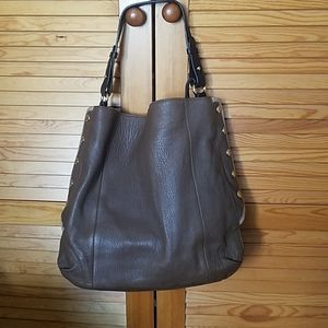 Furla side snap hobo in taupe leather.